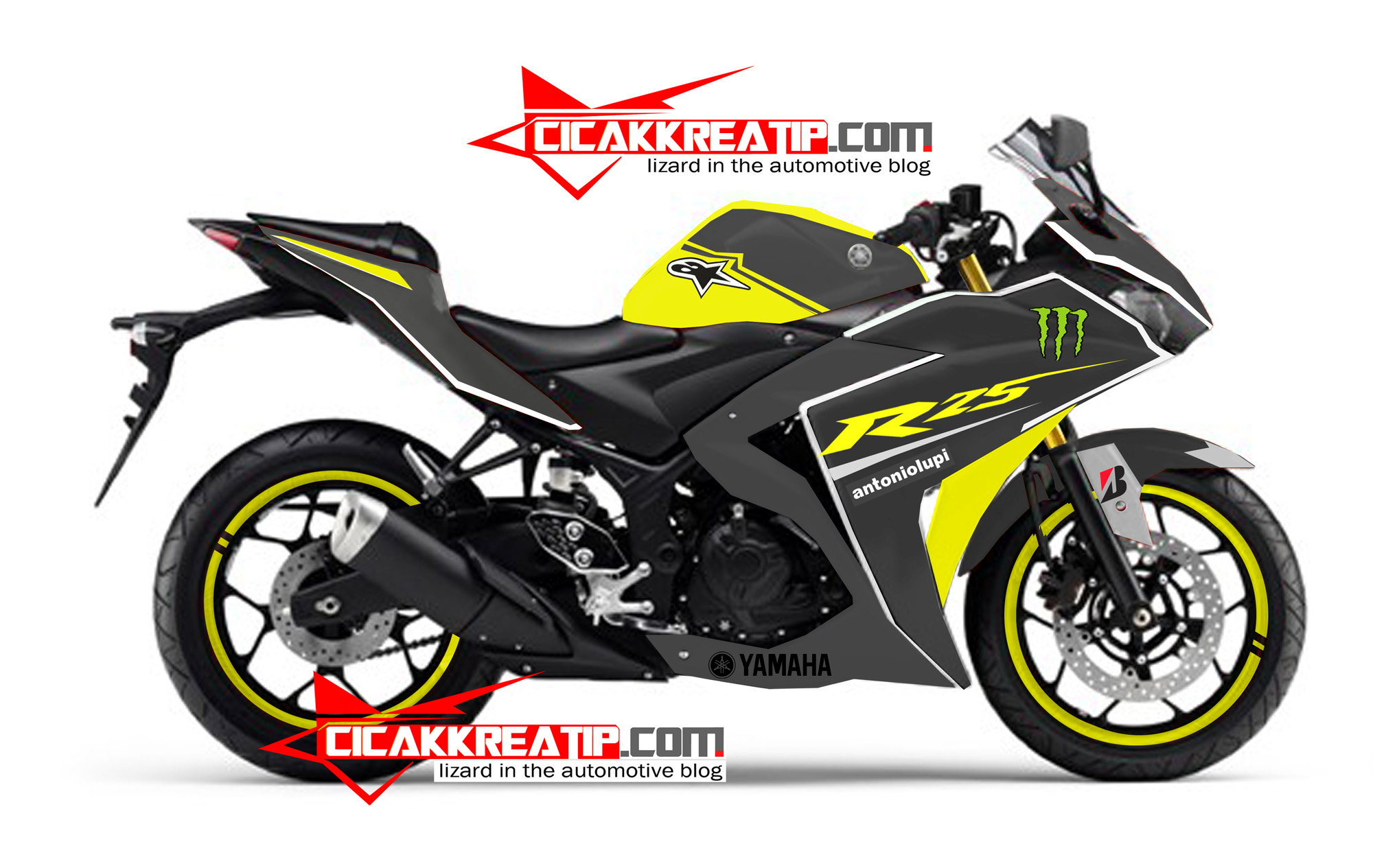 modif yamaha r25… warna kuning kombinasi hitam, lumayan :d