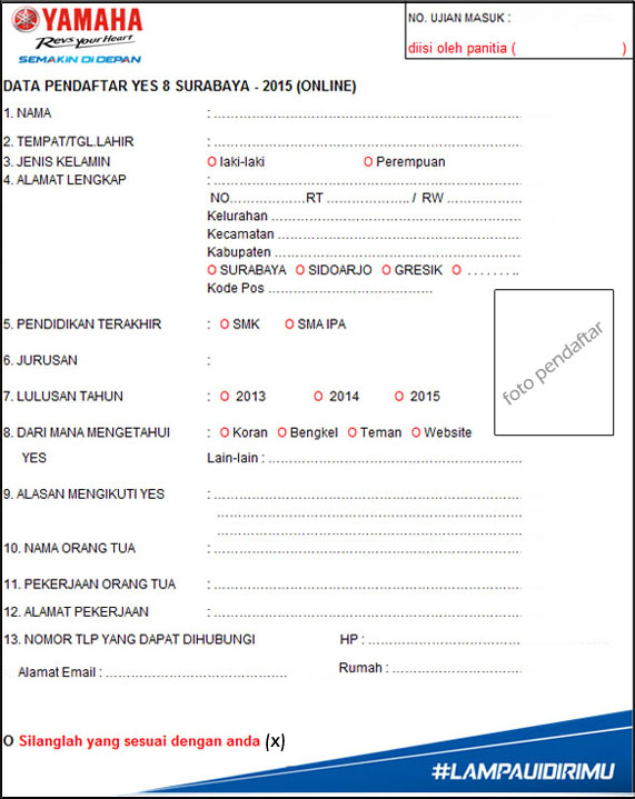 form pendaftaran yes online