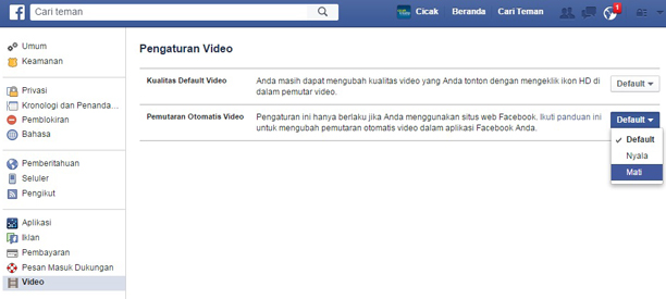 cara mematikan video autoplay di facebook
